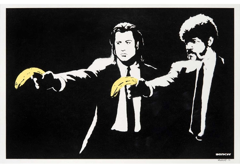 """Banksy'nin """"Pulp Fiction"""" Baskısı 125.000 Sterline Satıldı"""