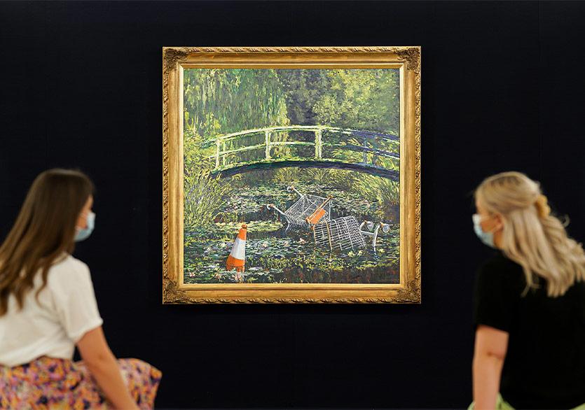 """Banksy'nin """"Show Me The Monet"""" Tablosu Rekor Fiyata Satıldı"""