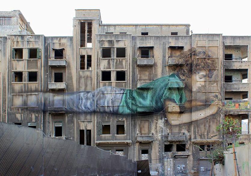 Beyrut'un Savaş Kalıntılarında Bir Duvar Resmi