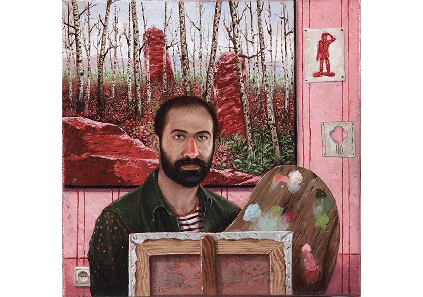 Metin Çelik,Otoportre, 2017, tuval üzerine yağlıboya, 20x20 cm