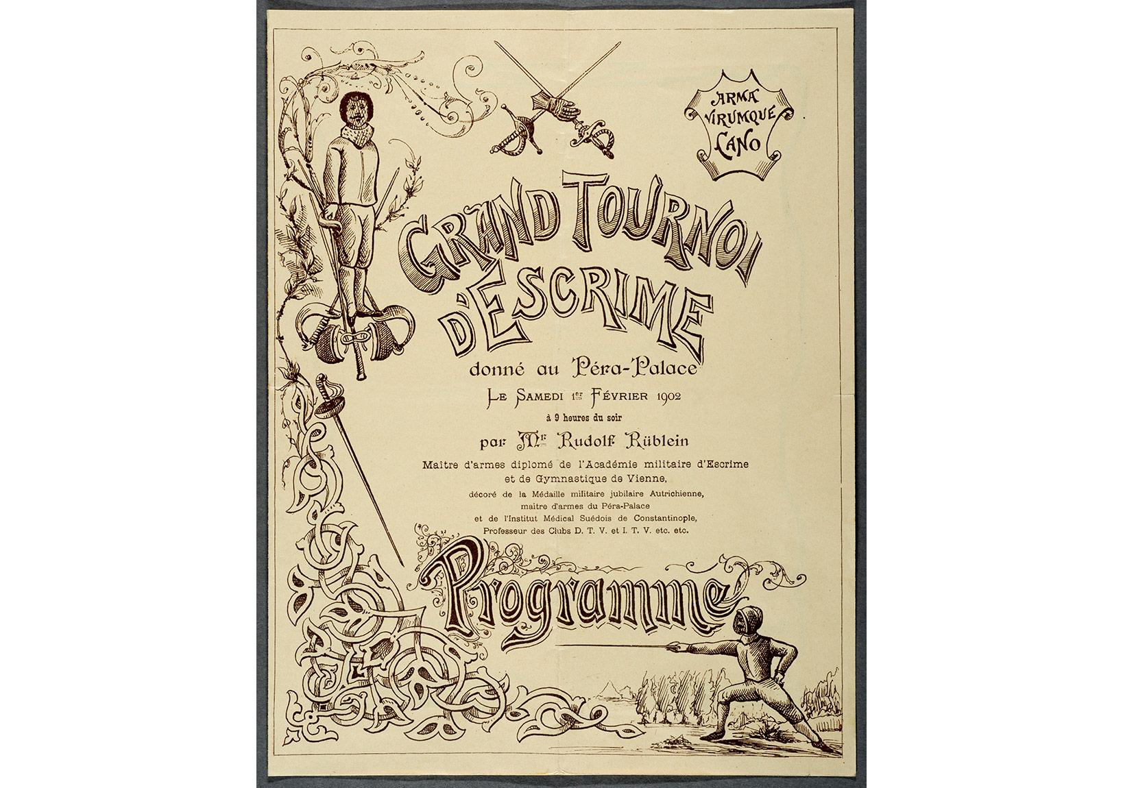 Pera Palas Oteli'nde Rudolf Rüblein'in bir eskrim turnuvasının programı. 1 Şubat 1902, Pierre de Gigord Koleksiyonu.