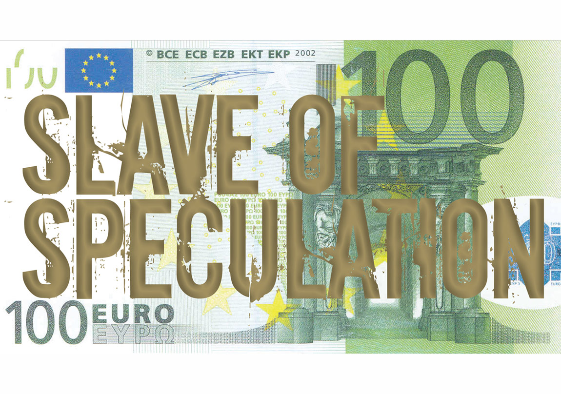 Slave of speculation / 100 Euro bill and silk print, Edition of 10, 2012
