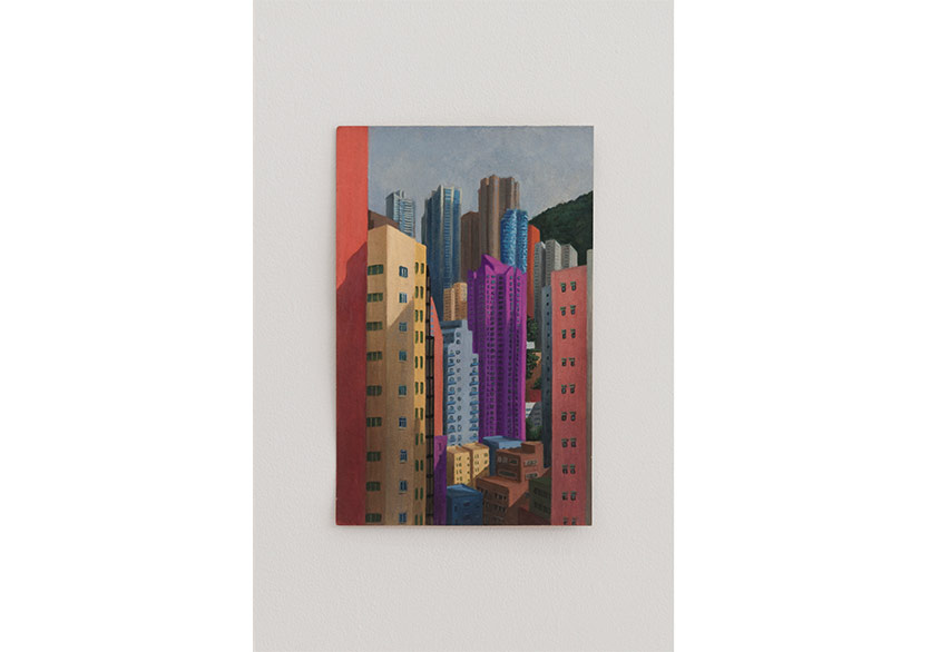 Hong Kong, Louise Sartor, 2019, gouche on cardboard, 27 x 14 cm, CREVECOEUR