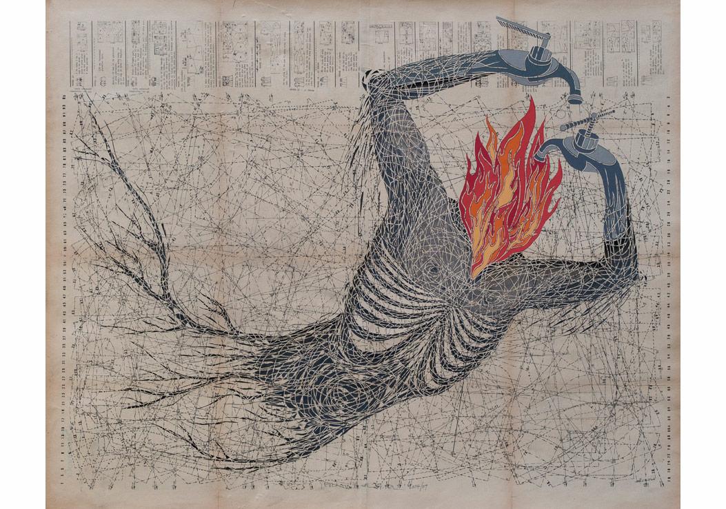 Serkan Yüksel, Thich Quang, Duca saygı, 2014, 84.5x106 cm, kalıp kağıdı üzerine elle kesim
