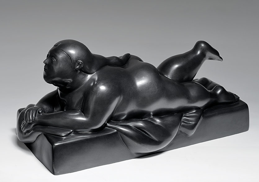 Fernando Botero,Woman Lying on Her Stomach 2006 Bronze 28x57x25 cm,courtesy of Anna Laudel Gallery