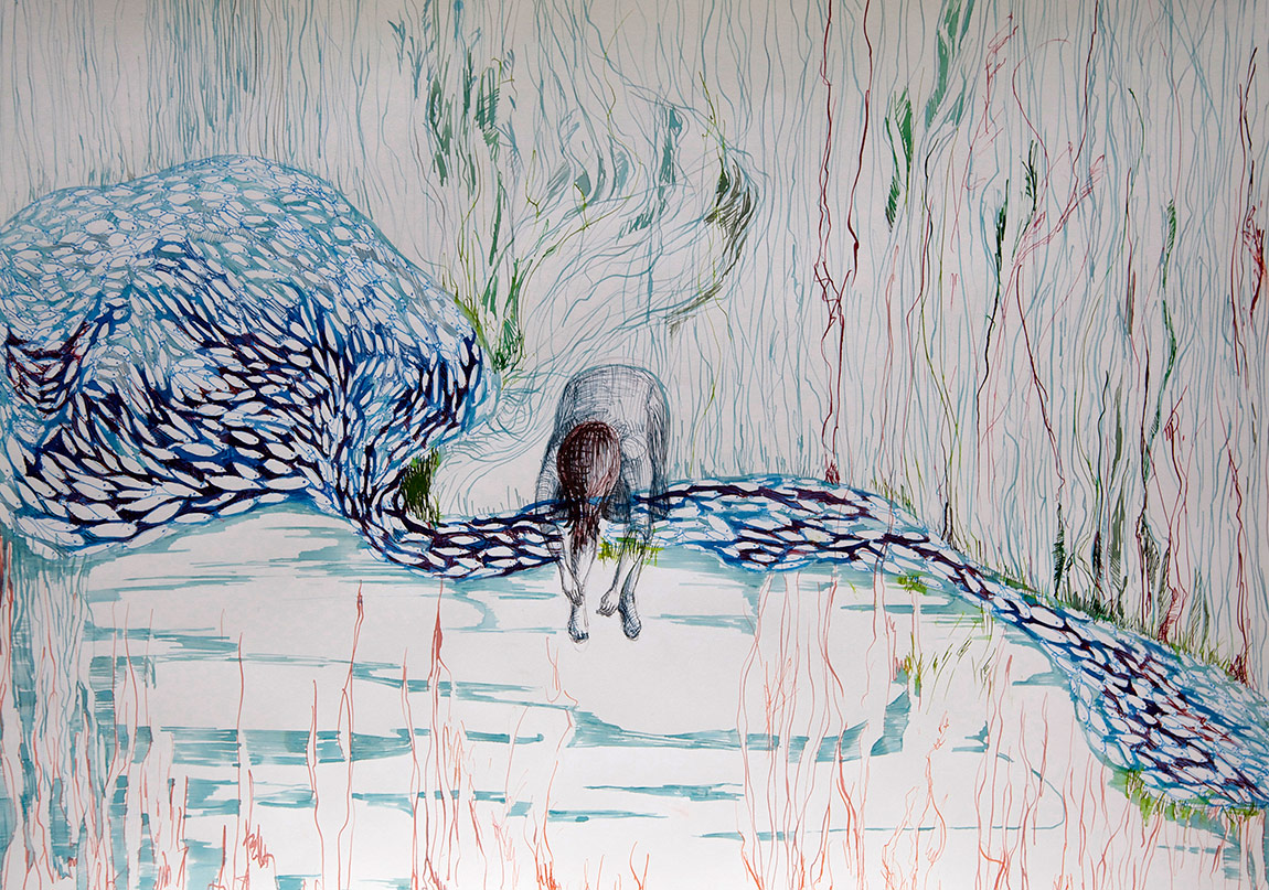 Ruya Notlari, Donmus Baliklar / Frozen Fishes, kagit uzerine ecoline,05 2014
