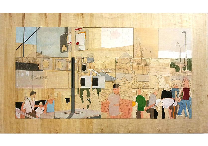 Detlef Waschkau, People (İnsanlar), 2013, 110x190x1cm, Sunta üzeri pigment boya