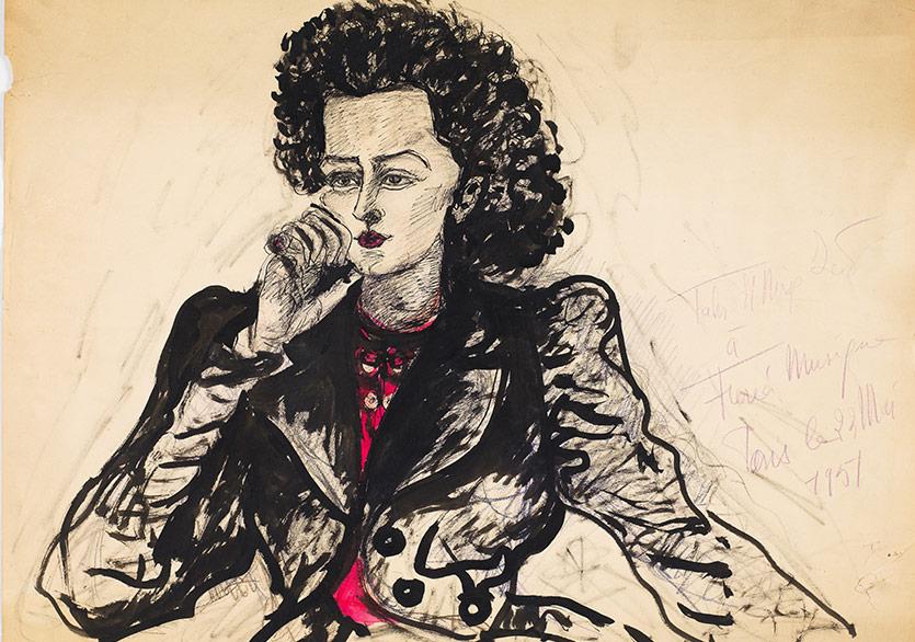 Fahrelnissa Zeid'in Füreya portresi, kağıt üzerine karışık teknik, Rabia Çapa Koleksiyonu