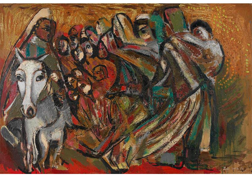 Hasata Giden Köylüler, 1971 Tuval Üzerine Yağlıboya