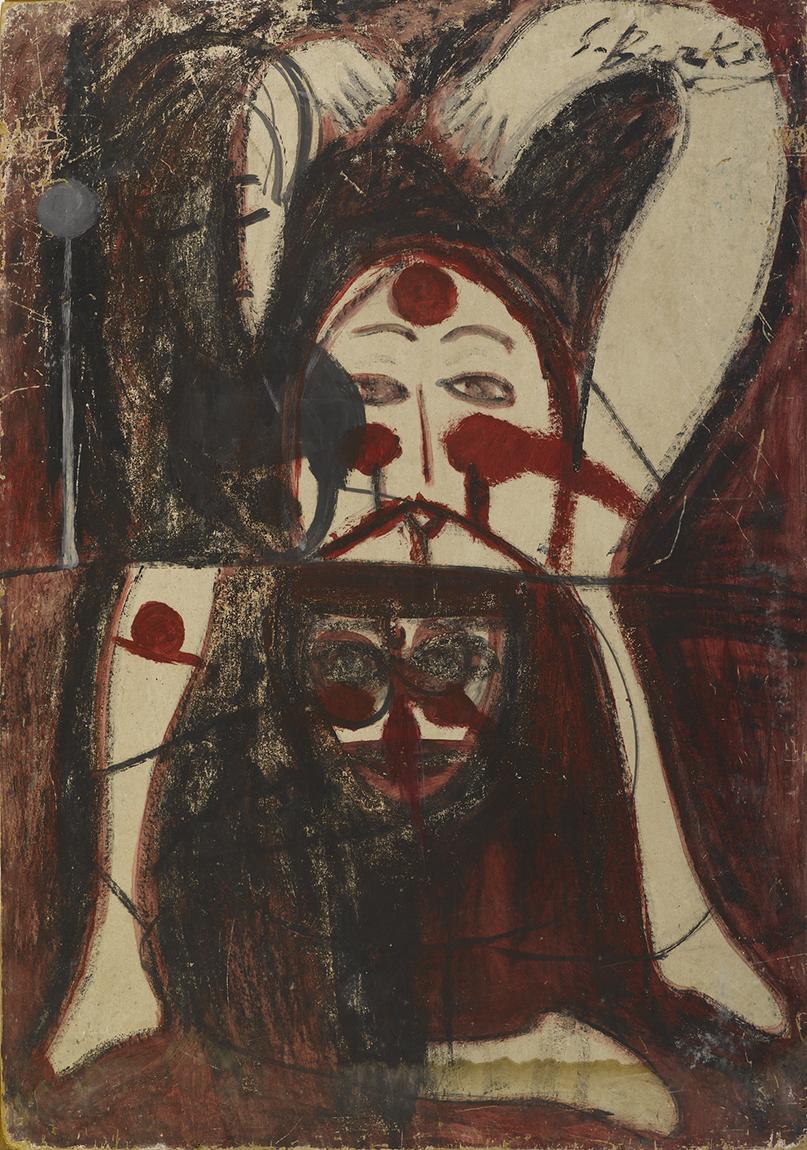 Semiha Berksoy, 'Otoportre', duralit üzerine yağlıboya, 99 x 69 cm