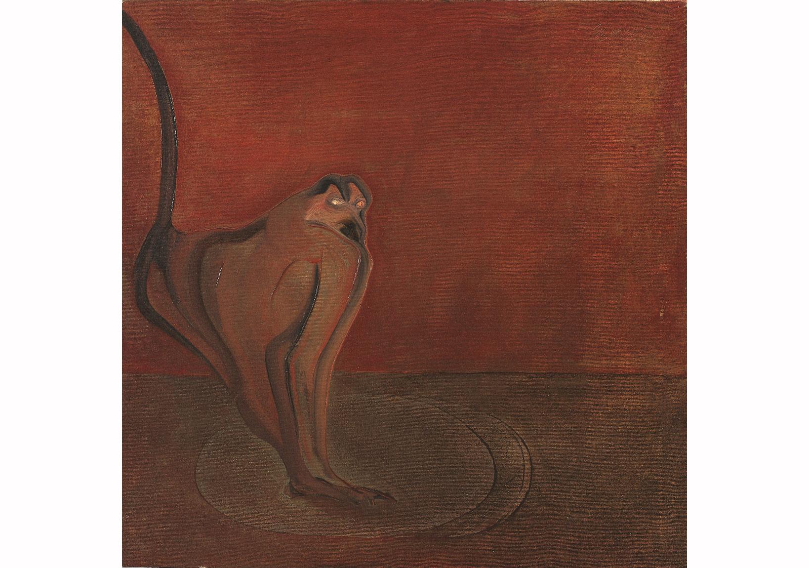 Kırmızı Duvar Önünde,Tuval üzerine yağlıboya,76,5 x 76,5 cm,Sanatçı Koleksiyonu