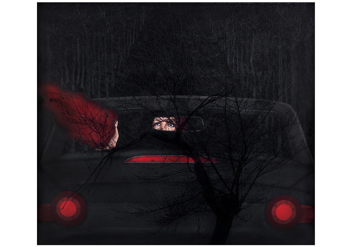 NIGHT DRIVE 1 / 176 cm.x 156 cm. / 2016 / Tuval üzerine akrilik, karışık teknik ve kolaj ( Gözlerim )ve üzerine ağaç fotoğrafımın basılı olduğu Plexiglas.Not : Resim; mat, siyah, ahşap çerçeveyi de kapsıyor.