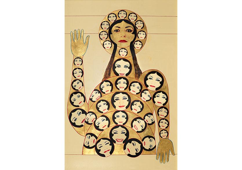 Şehretün'nar 2011 Minyatür Aharlı kâğıt üzerine altın ve asetat üzerine fotoğraf baskısı 104 x 71 cm (çerçeveli)
