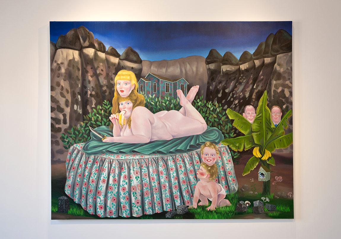 Ali Elmacı, Güzeller Bibirlerine Aşık Olduklarında, Çirkinler Mutluluktan Haykırıyorlardı, 2016, Tuval üzerine yağlı boya 180x220cm