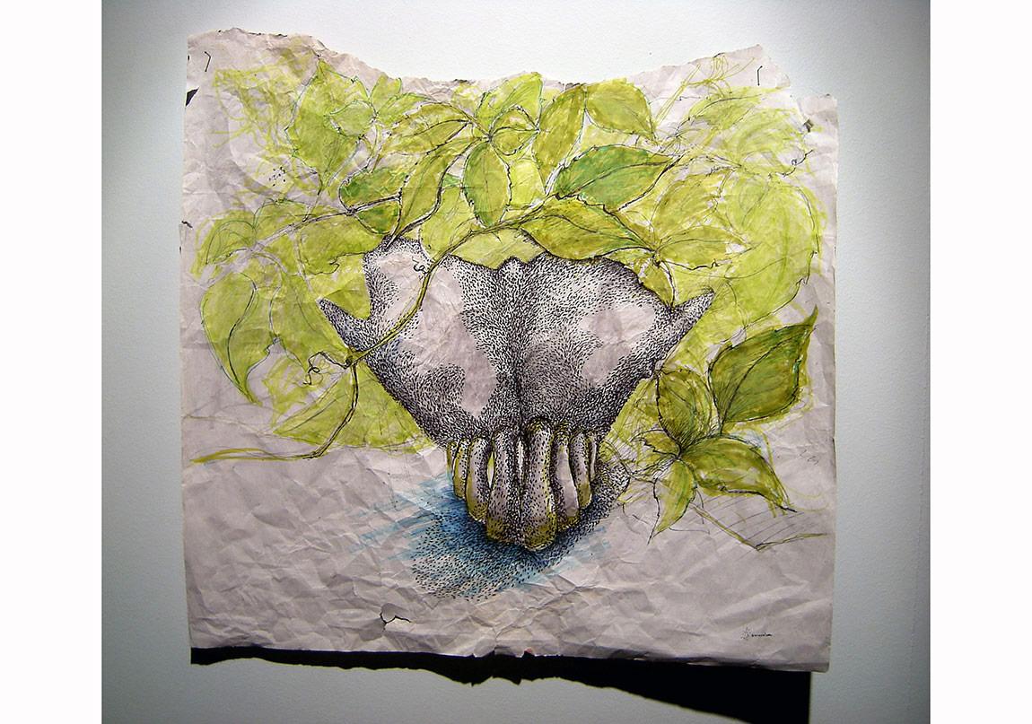 """""""Diş"""", 2012, Çizim, Kişisel sergiden detay, Foto: Uygar Asan, PiST///Disiplinlerarası Proje Alanı."""