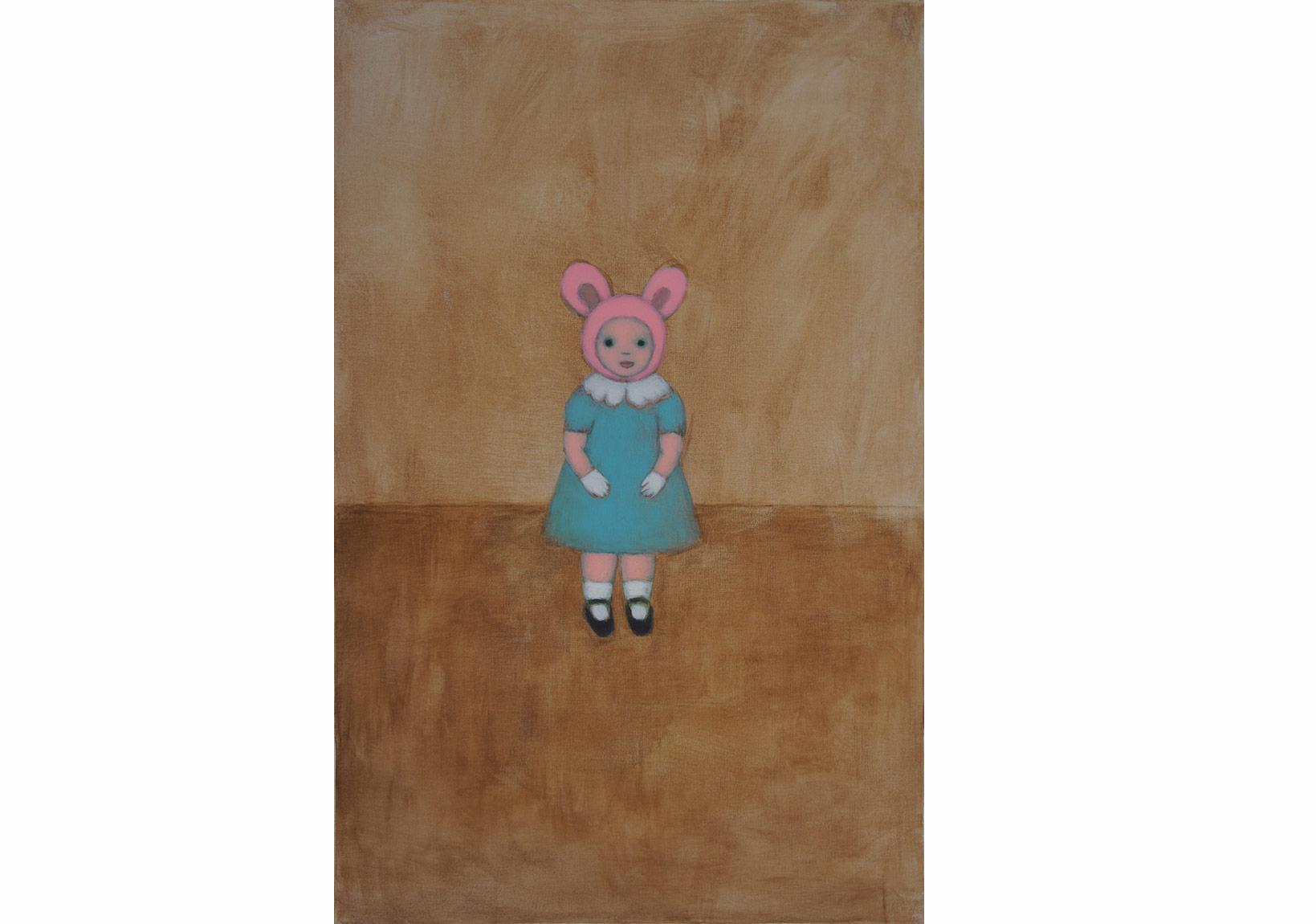 Ayşe Wilson – 'White Gloves', 91x60 cm, Tual üzeri akrilik, 2015,'Little Friends' adlı kişisel sergisinden