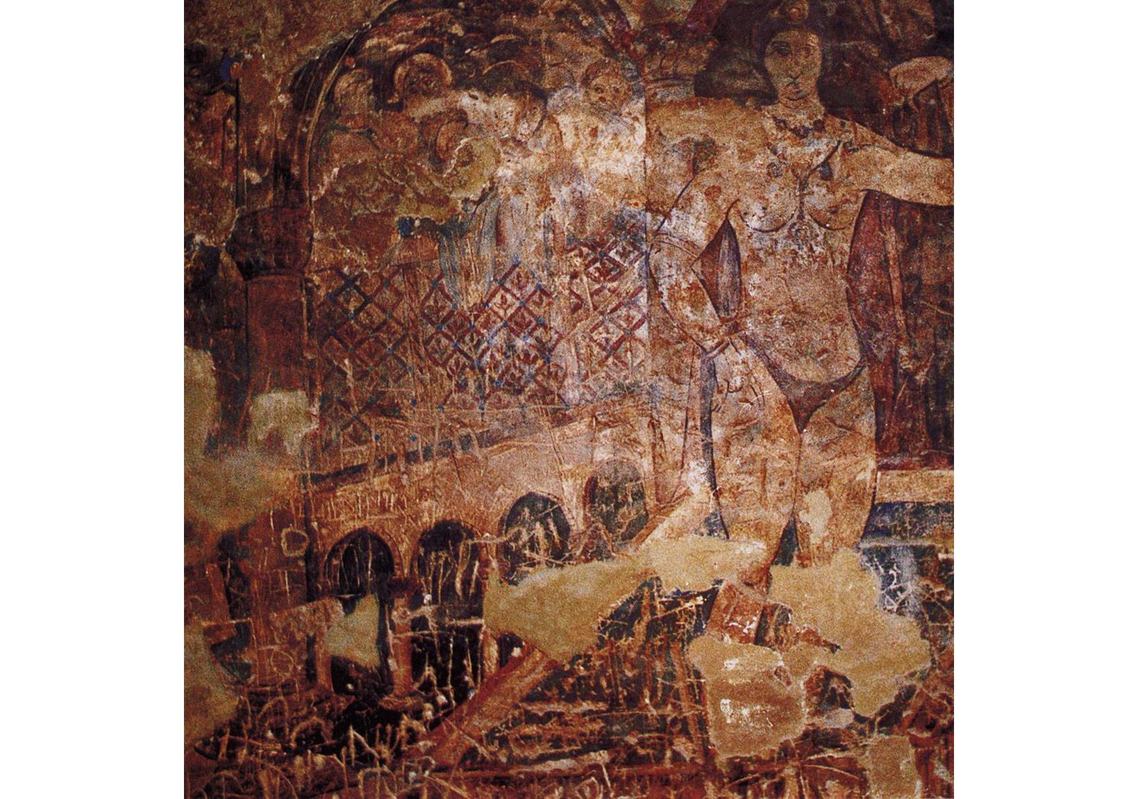 Ürdün'de 8. yüzyıl başlarında Emeviler'in yaptığı Amra Kasrı'ndan çıplak bir kadın freski