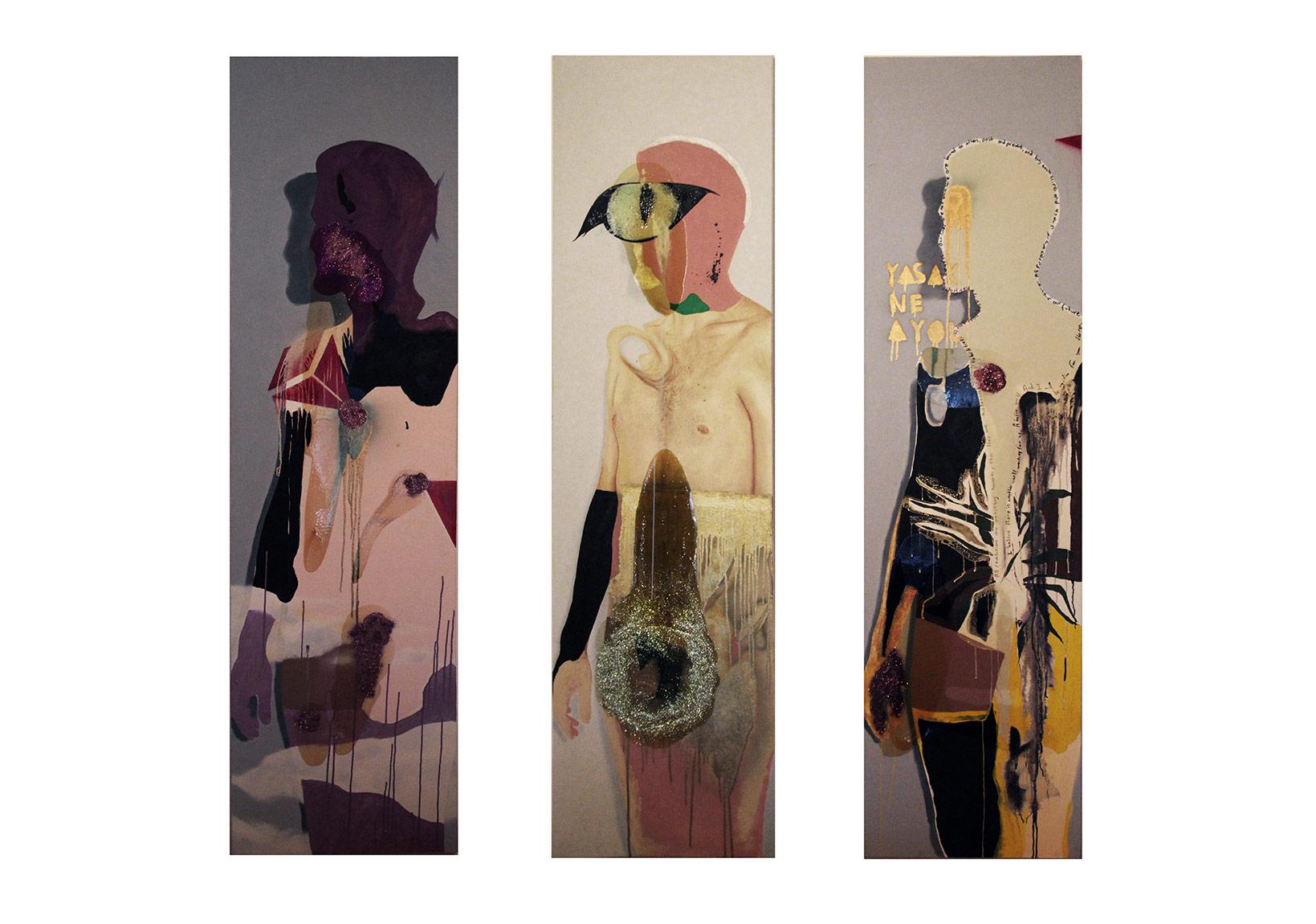 Huo Rf, Part One, 2010 2014, triptik her biri 220 x 60 cm, tuval üzerine yağlıboya, sprey boya, sim, yat verniği, asetatlı kalem