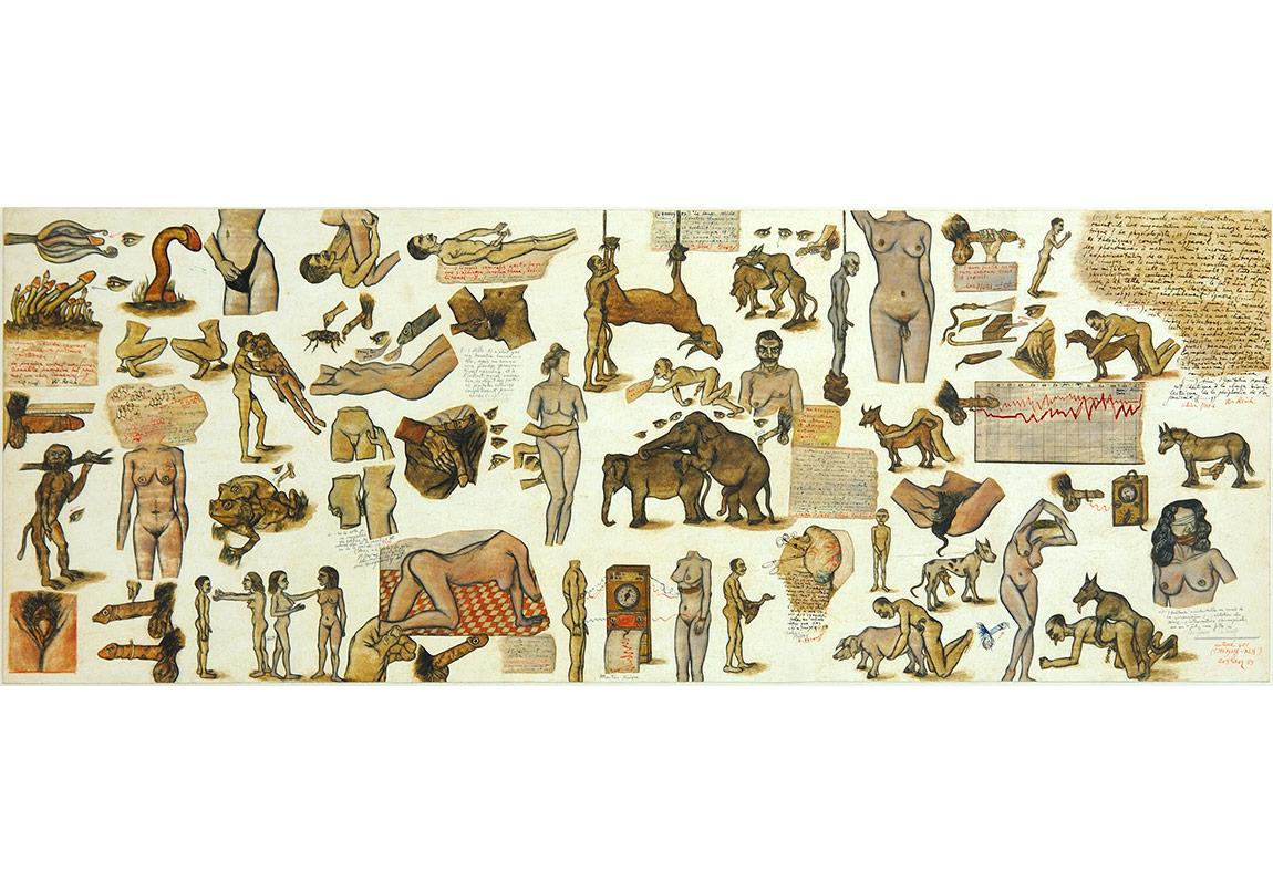 Yüksel Arslan, Artür 401, Adam XLII (1989), Kağıt üzerine karışık teknik, 40x110 cm.