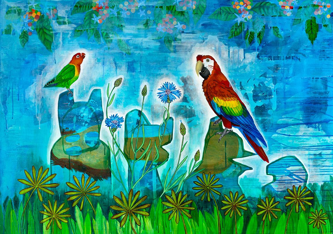 Ekin Saçlıoğlu, Yeni Dünya I iki kuş, Tuval üzerine akrilik, 100 x 140 cm, 2015