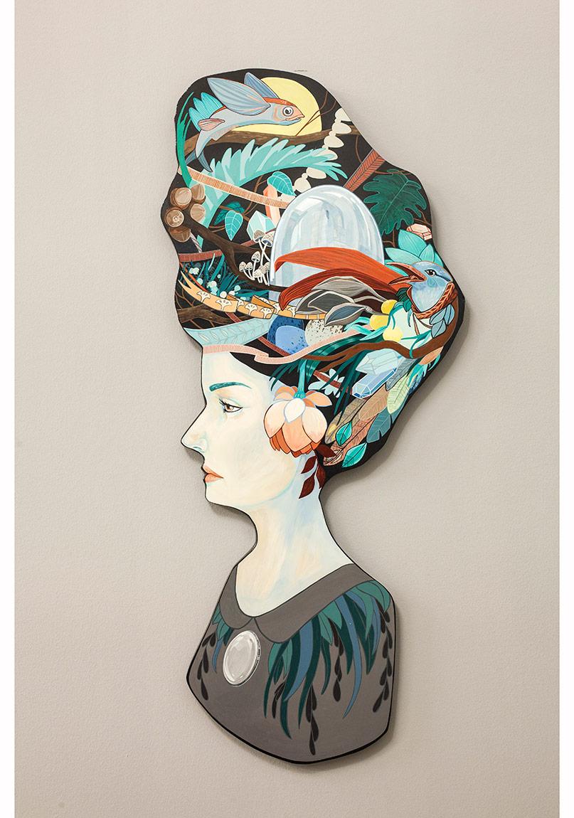 """""""Naturalist"""", Elle kesilmiş ahşap üzerine akrilik, 105 x 50 cm, 2014, Daire Galeri© Korhan Karaoysal"""