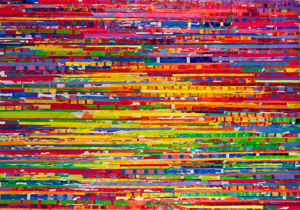 Seçil Erel, Olduğu gibi, 2016, kağıt üzerine maskeleme bandı ve yağlı boya, 140x200 cm