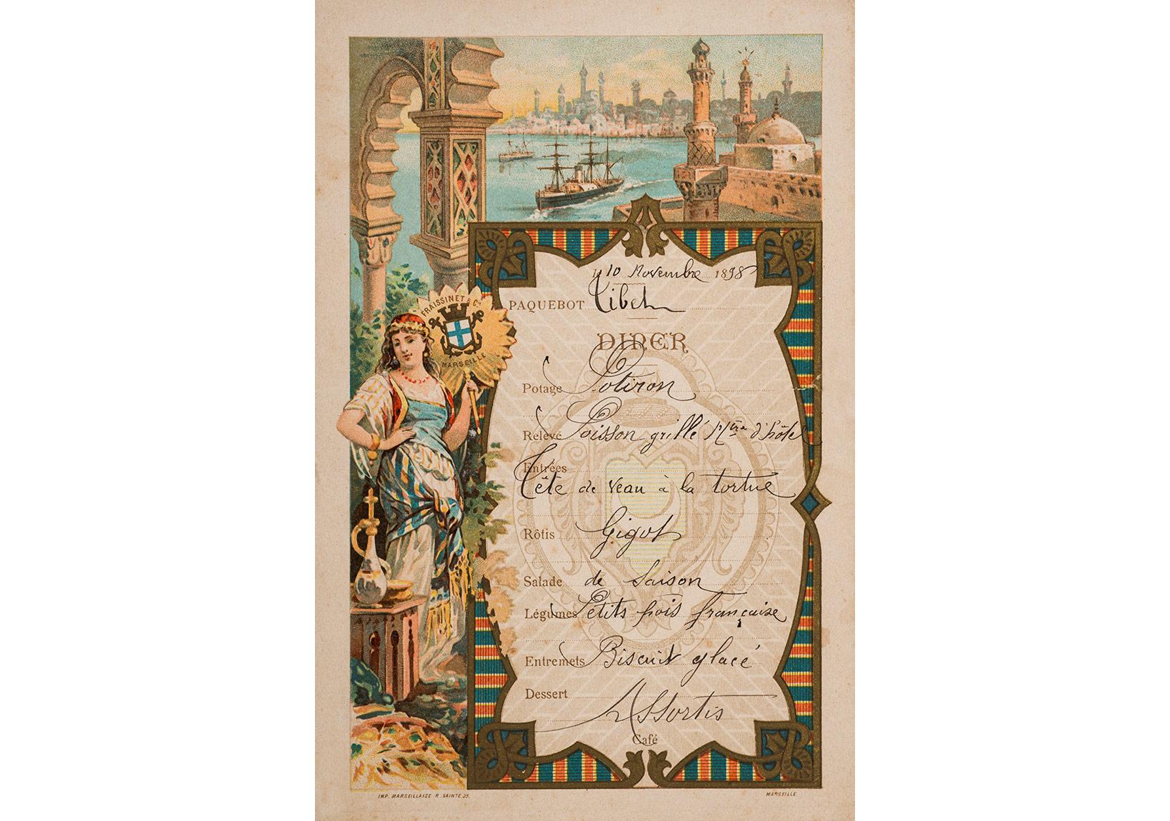 Compagnie Fraissinet'e ait Liban gemisinin akşam yemeği menüsü. 10 Kasım 1898, Pierre de Gigord Koleksiyonu.