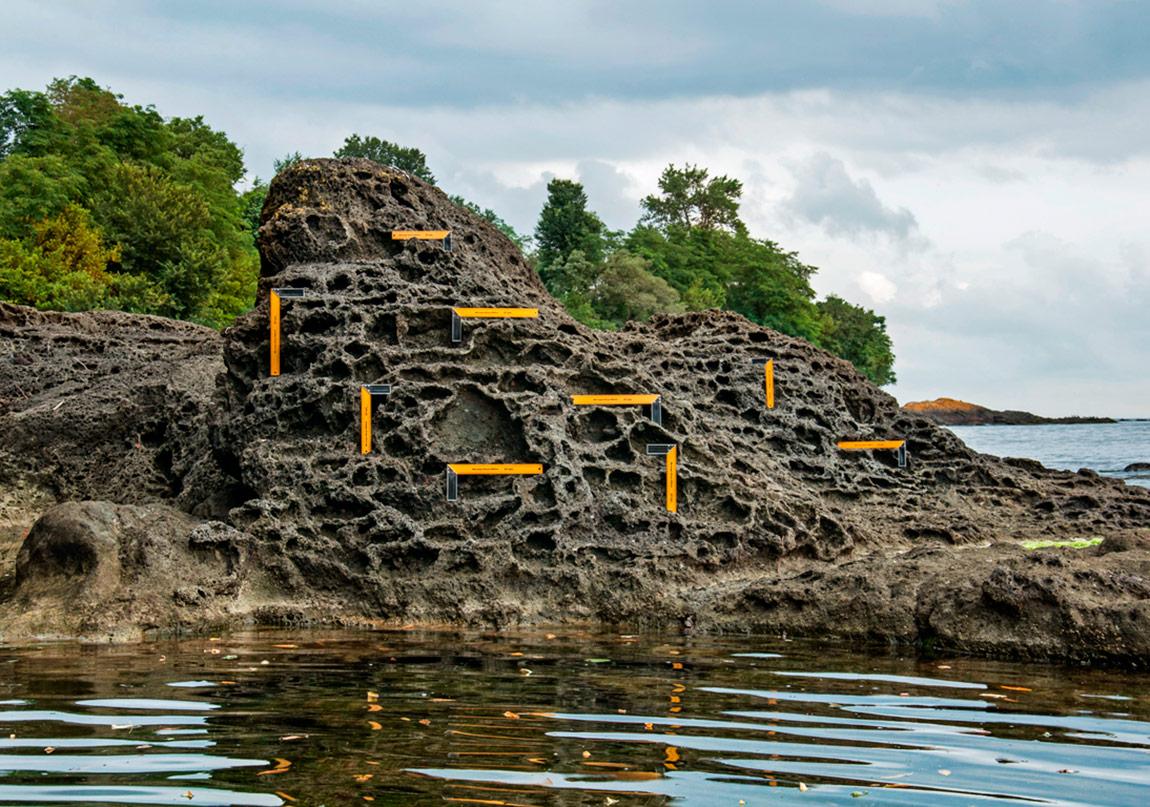 Organik Kusurlar, Volkanik Kaya Üzerine 9 Gönye Yerleştirme, Sarı Su, Ordu, Türkiye, 2015