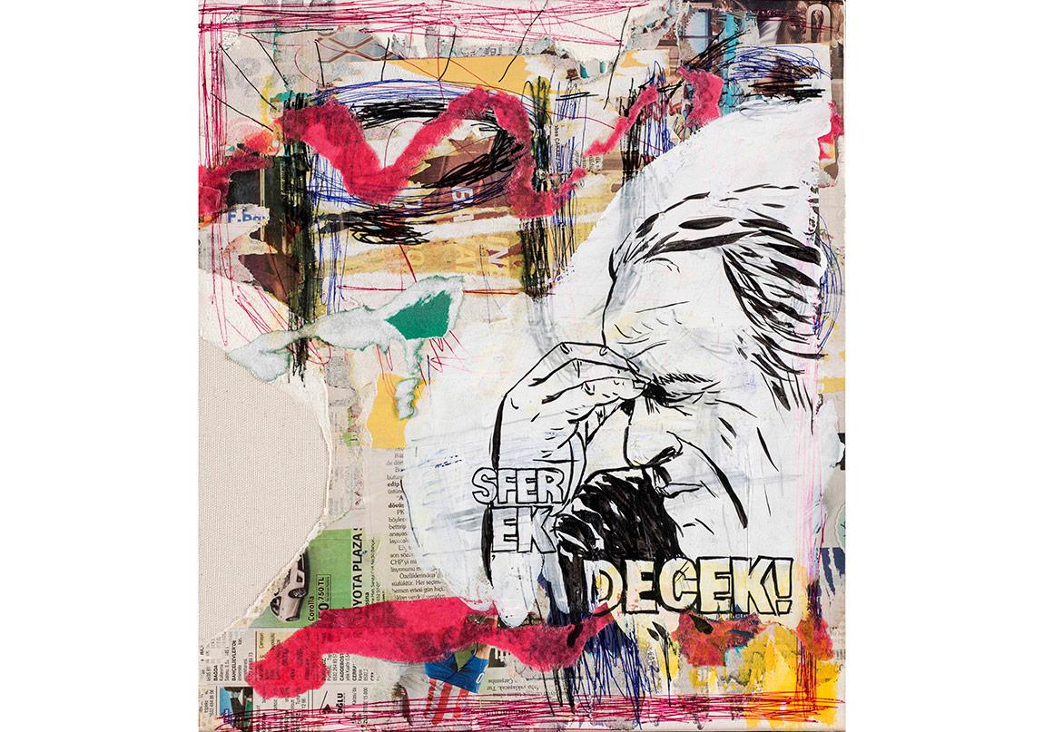 Olcay Kuş, İsimsiz, 2016. Tuvale marufle kâğıt üzerine kolaj, mürekkkepli kalem ve akrilik boya, 43,5 x 39 cmFotoğraf: Kayhan Kaygusuz