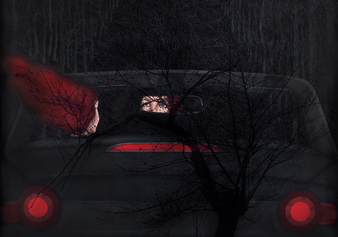 ALAN Istanbul Kezban Arca Batıbeki - Night Drive 1 - 176 x 156 cm - Acrykic on canvas, mix media and collage (my eyes) and plexiglass that the tree picture is printed on