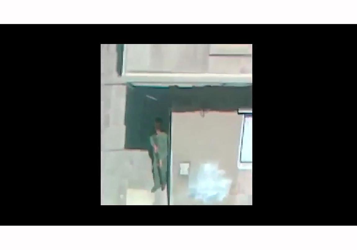 The Pixelated Revolution [Pikselli Devrim] işinin The Fall of a Hair part 1 [Bir Saç Telinin Düşüşü bölüm 1] (2012) videosundan bir kare Sfeir-Semler Gallery (Beyrut/Hamburg) desteğiyle dOCUMENTA (13) tarafından sipariş verilmiş ve üretilmiştir. San