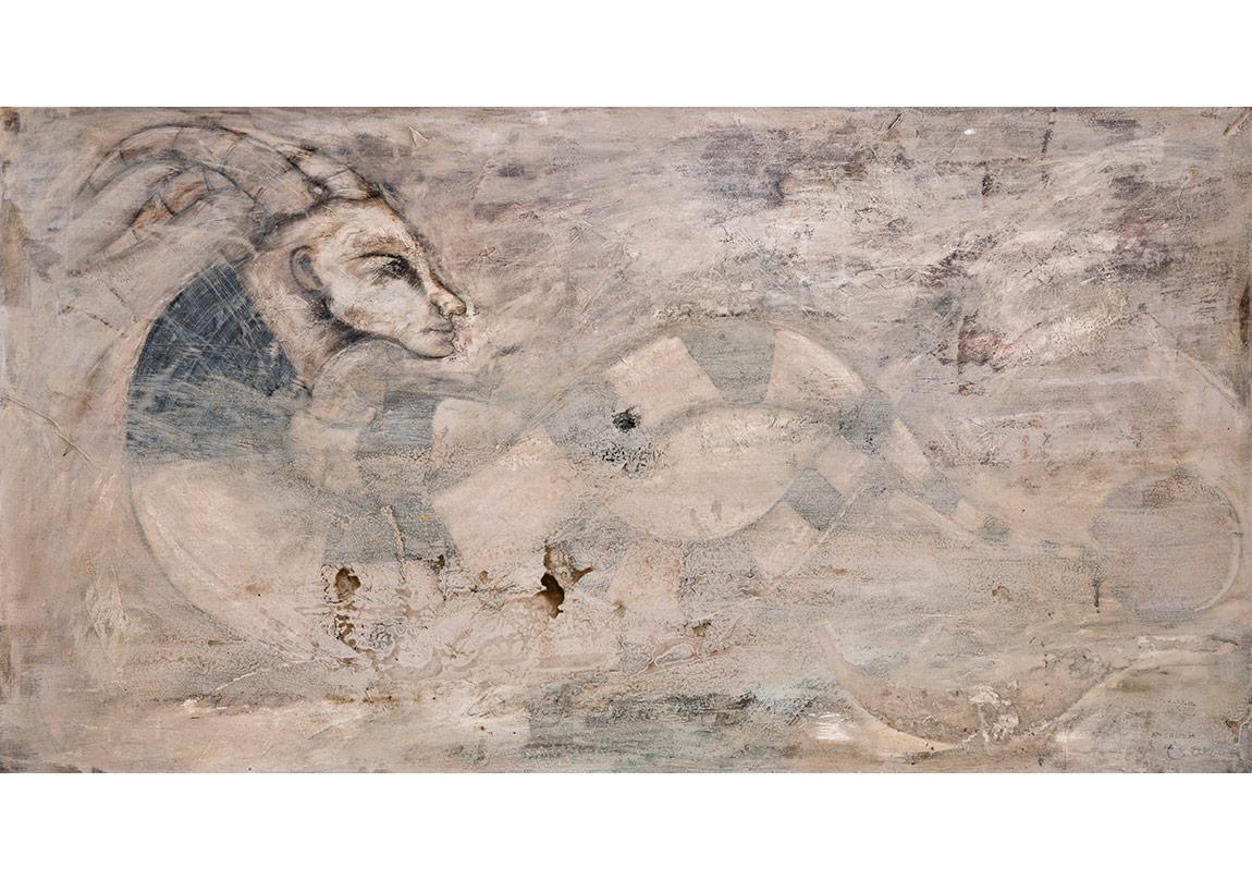 İsimsiz, 2013, tuval üzerine karışık teknik, 95 x 180 cm