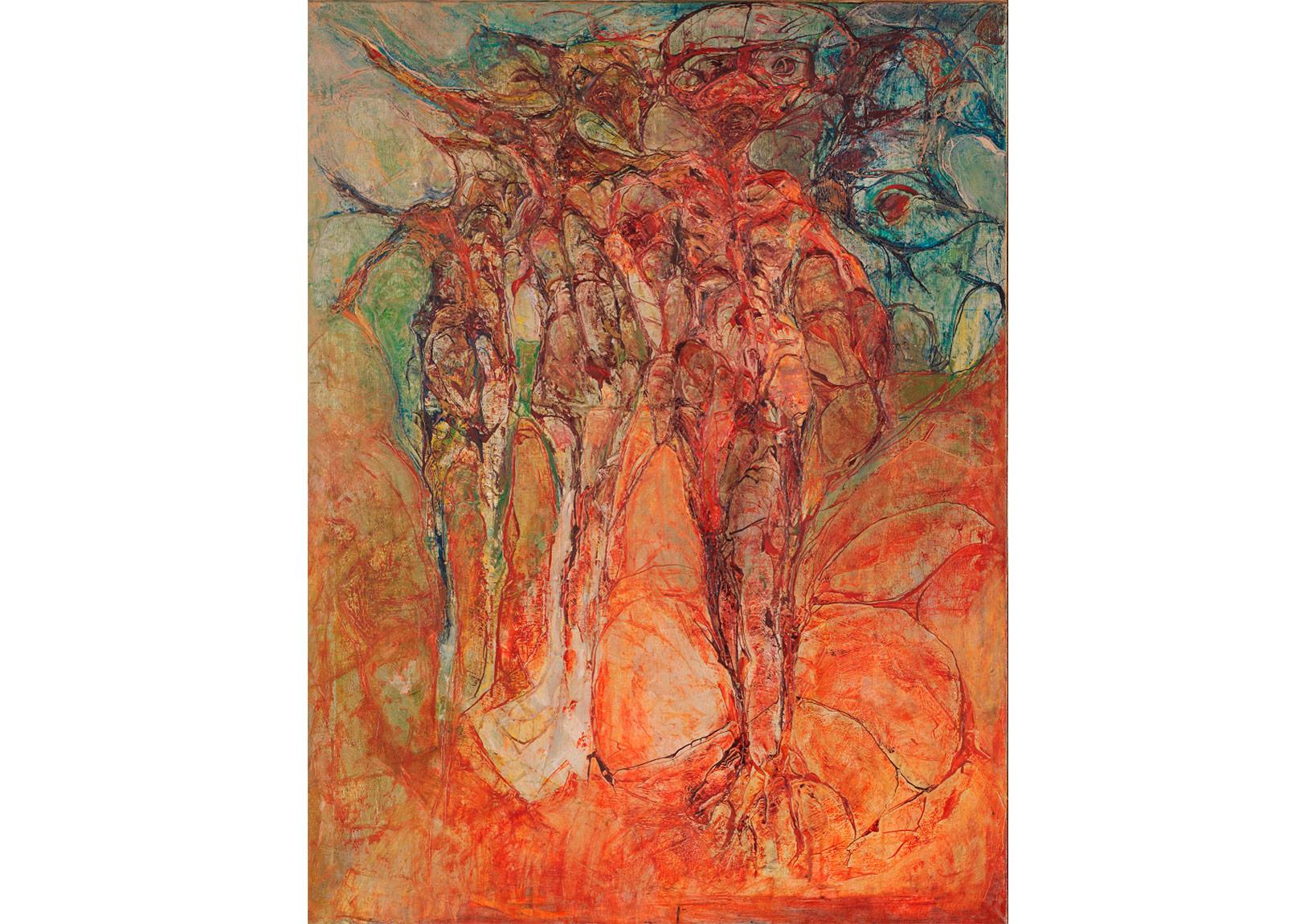Doğada Üç Kişi,Tuval üzerine yağlıboya,115 x 88 cm,Oya-Bülent Eczacıbaşı Koleksiyonu