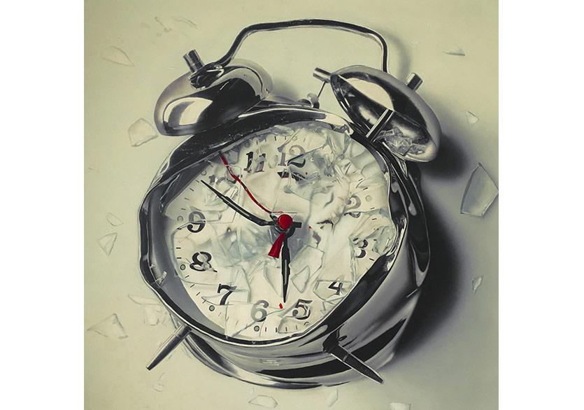 Alican Leblebici, Saat, 150x150 cm, tuval üzerine akrilik