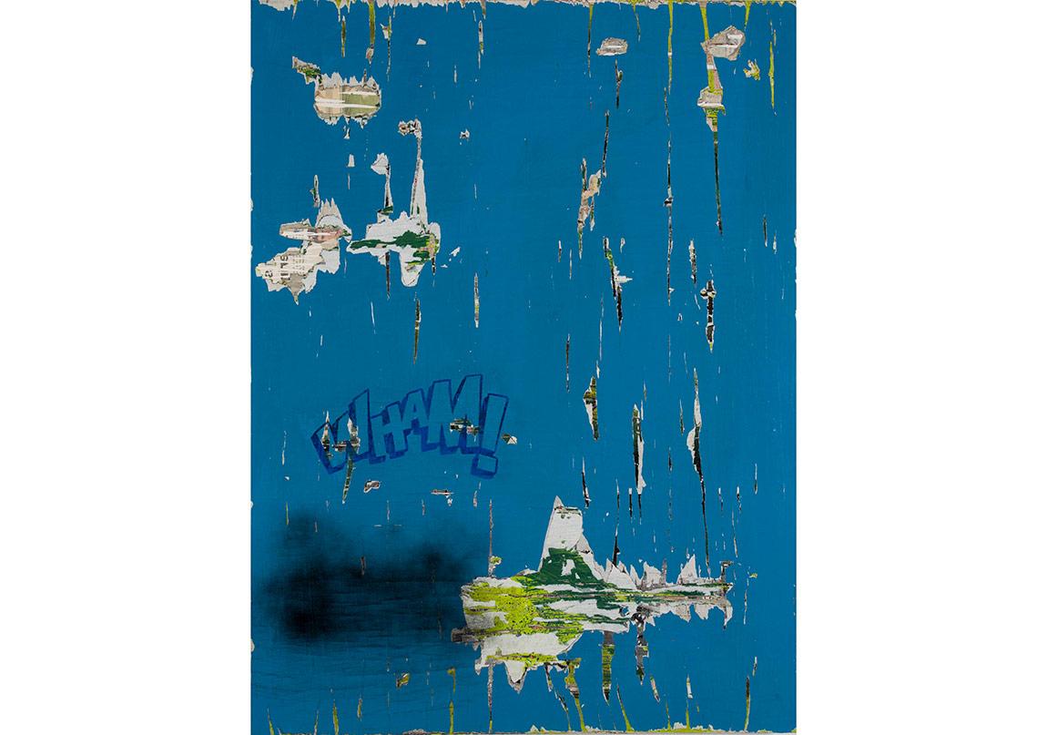 Olcay Kuş, Wham, 2016. Tuval üzerine gazete kağıdı, akrilik ve sprey boya, 160 x 120 cmFotoğraf: Kayhan Kaygusuz