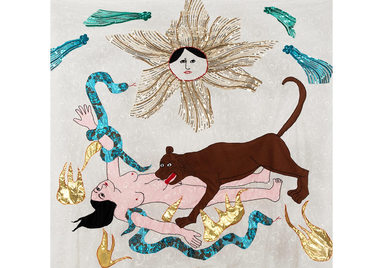 Güneş: Aslanlı Kadın' Işıl Işıl Karanlık serisinden / 'Sun: Woman with Lion' from the series Shining Darkness, 2015Tül üzerine kumaş, ip ve payet / Fabric, thread and paillette on tulle182 x 200 cmSanatçı'nın ve Rampa'nın izniyle / Courtesy the artist and Rampa Fotoğraf / Photograph: André Carvalho and Tugba Karatop - Chroma