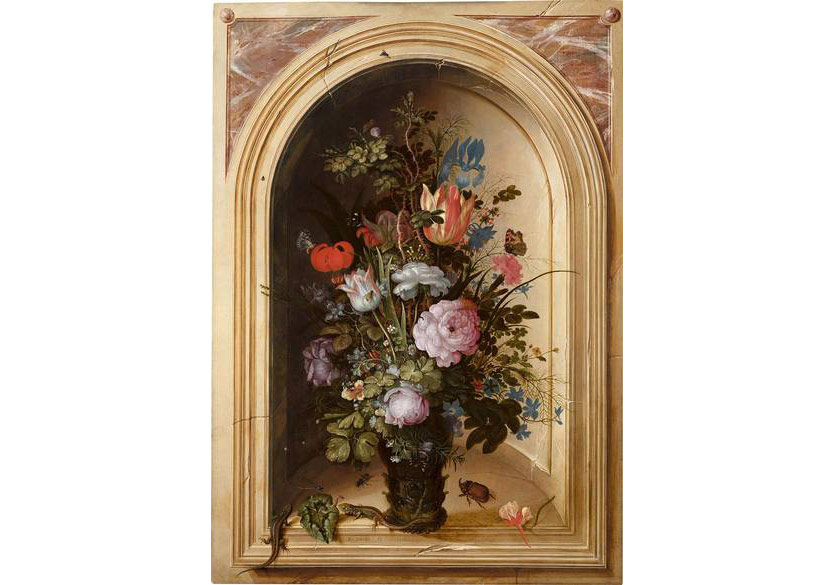 Roelandt Savery, A still life of flowers in a vase with lizards, a rhinoceros-horn beetle and other insects in a niche with a trompe l'oeil gilt