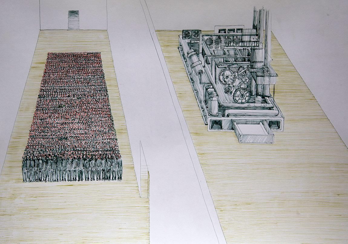 Ruya Notlari, Makina / The Machine, kagit uzerine ecoline,03 2014
