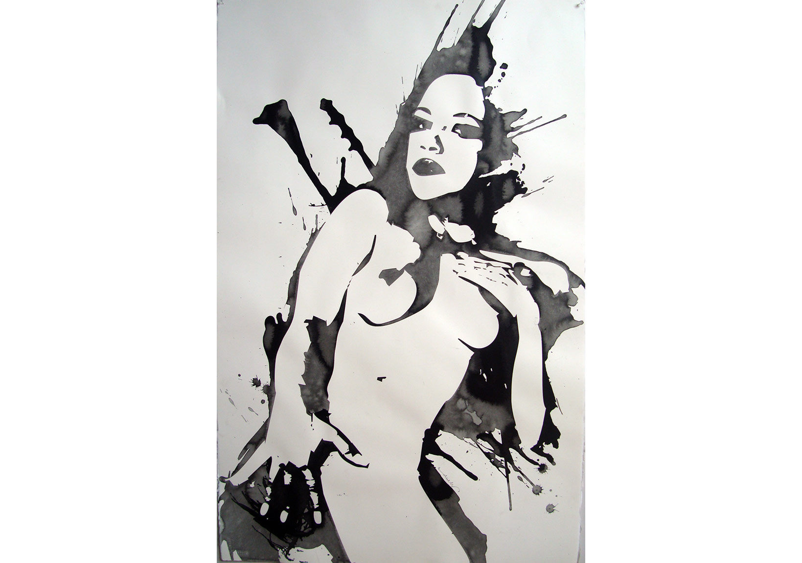 Kendell Geers, FV 11, 2007 Indian ink on paper 102 x 66 cm