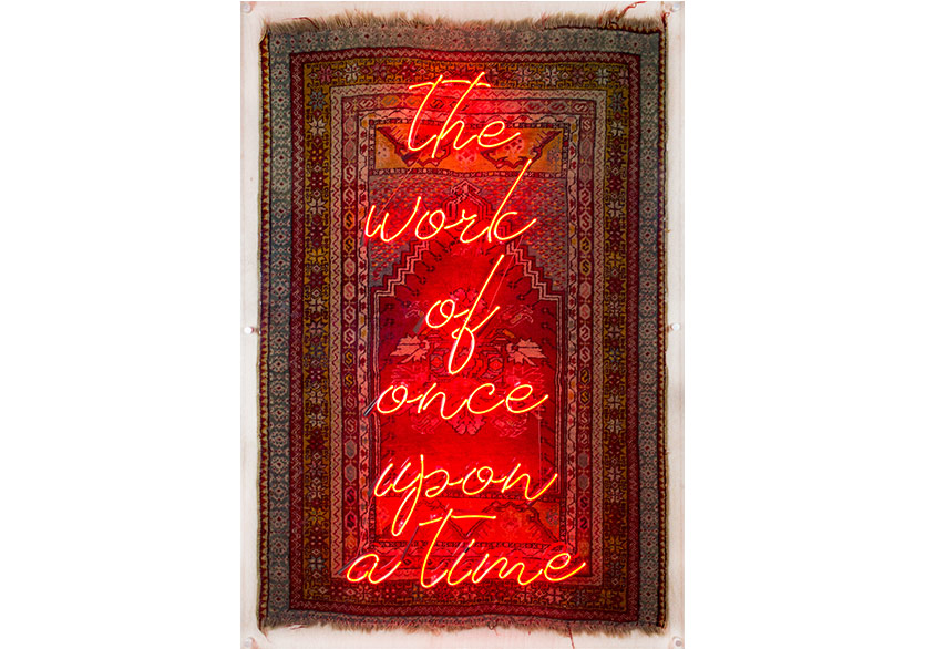 Ramazan Can The Work of Once Upon A Time, 2018 Rug and neon light 170 × 106 cm