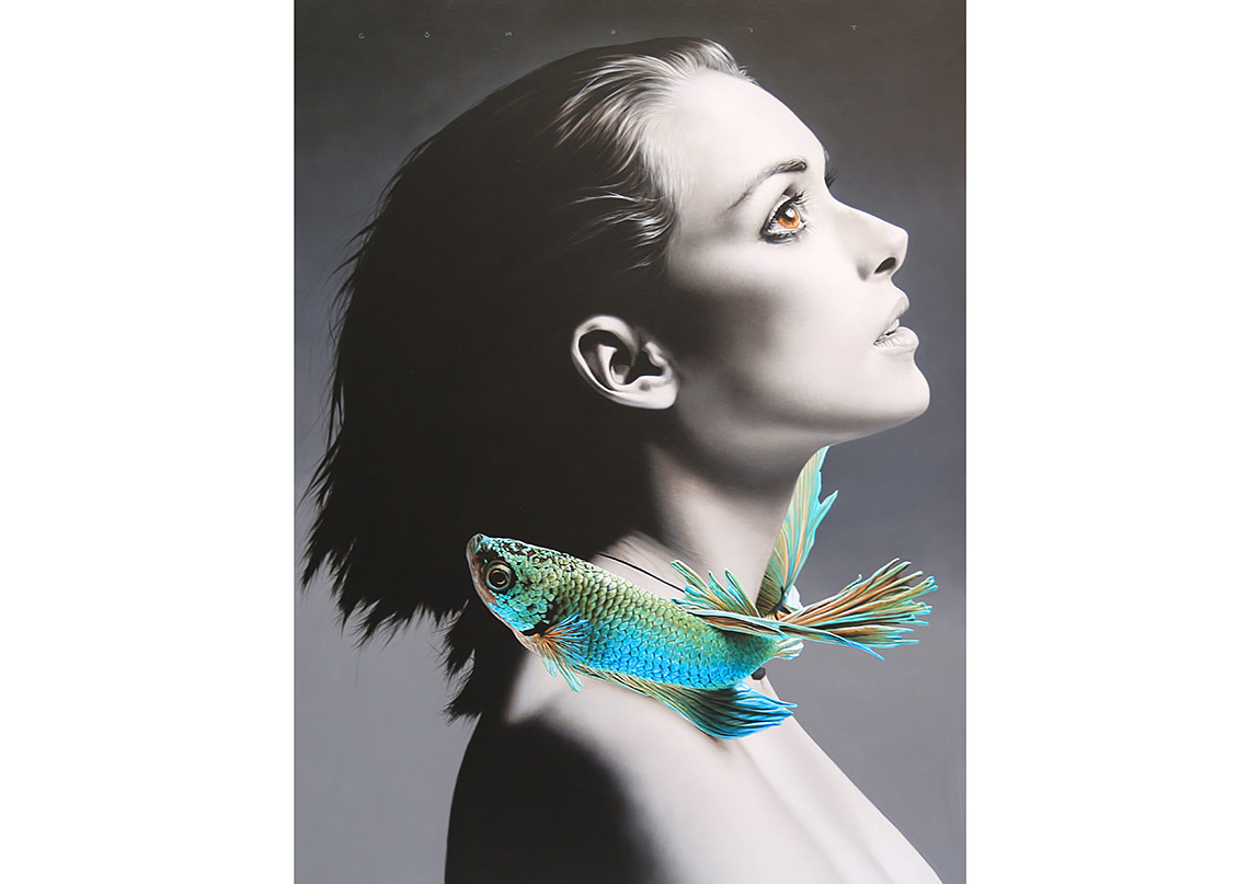 Cömert Doğru ''Omzumdaki Melek(Angel on my shoulder/Vinona Ryder)'' 120x90cm/acrylic on canvas/2016