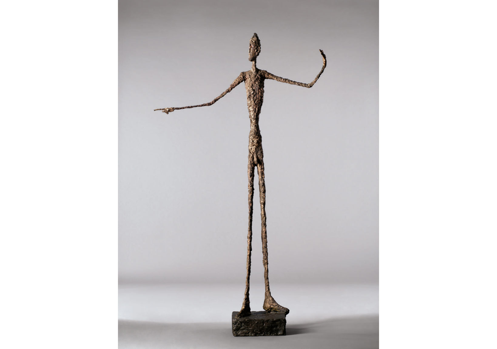Alberto Giacometti, L'homme au doigt, conceived in 1947. Price Realized: $141,285,000. Courtesy of Christie's Images ltd. 2015.