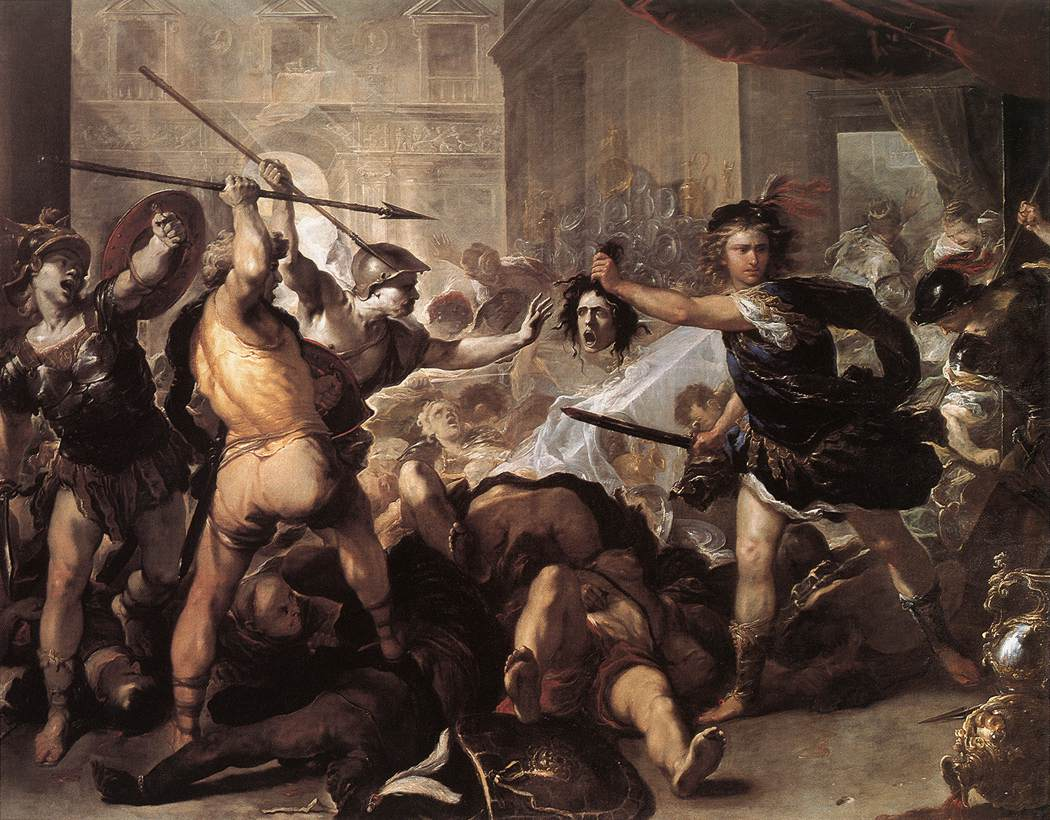 GIORDANOPerseus Fighting Phineus and his Companions, c. 1670, Oil on canvas, 285 x 366 cm, National Gallery, London
