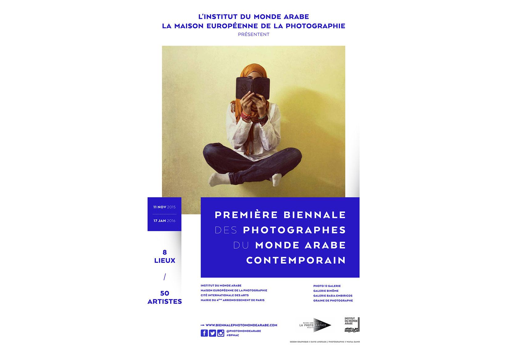 I. Çağdaş Arap Dünyası Fotoğrafçıları Bienali afişi [Afiş fotoğrafı: © Wafaa Samir]