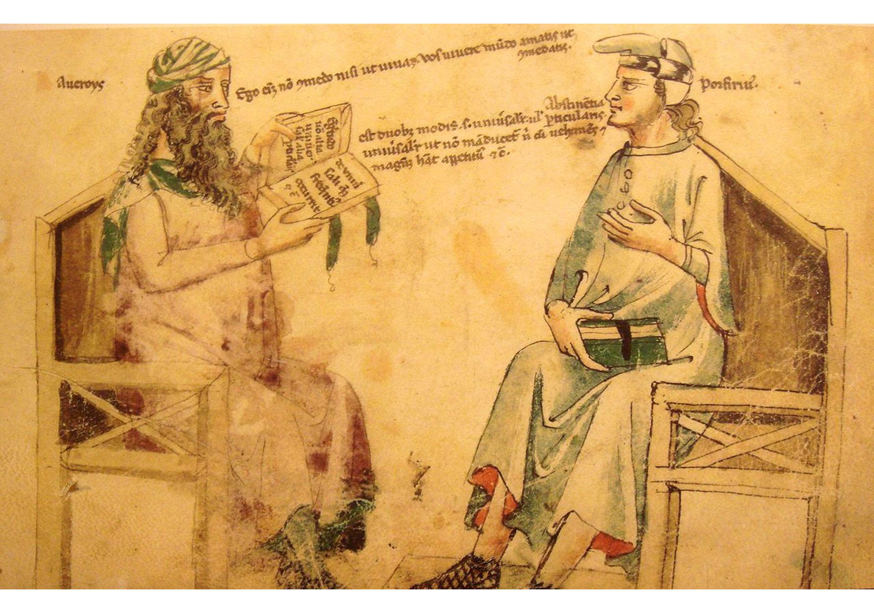 İbn-i Rüşt ve Porfiryus arasındaki hayali tartışma, 14. yy.