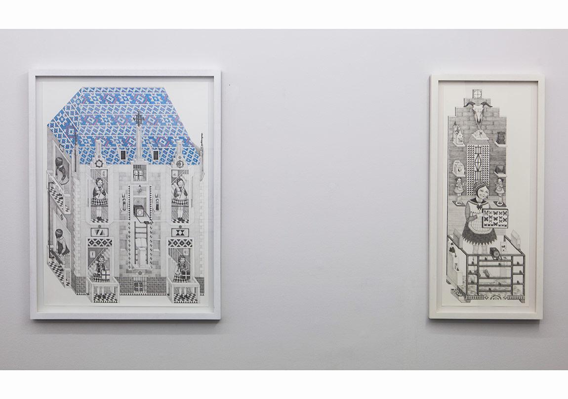 soldan sağaYuşa Yalçıntaş, The Law 2016, pencil and coloured pencil on paper, 100 x 75 cmYuşa Yalçıntaş, Gloria 2016, pencil and graphite on paper, 100 x 40 cm
