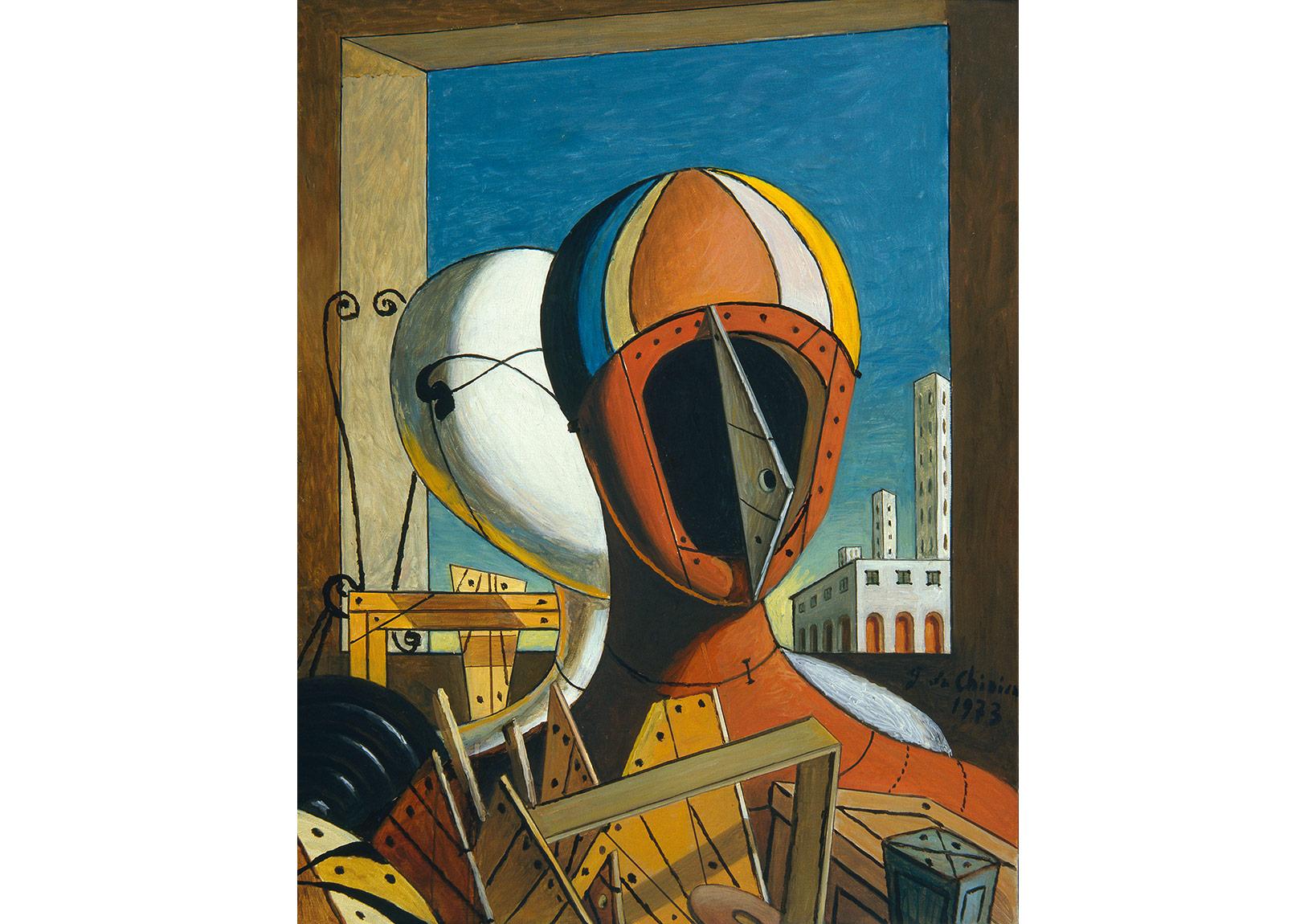 Maskeler (1959)Tuval üzerine yağlıboya, 50,5 x 40 cm. Giorgio ve Isa de Chirico Vakfı Koleksiyonu