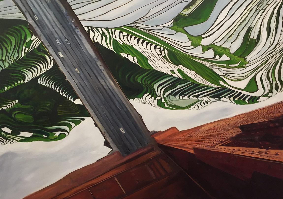 Bedia Ekizzaman time (2015)tuval üzerine yağlıboya ve kolaj 80 x 120 cm