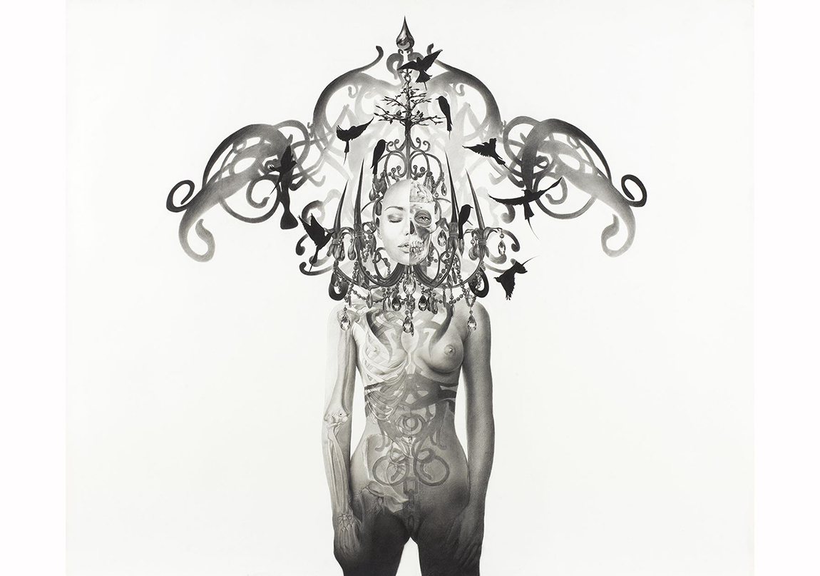 Taner Ceylan, Persephone, 2012, graphite and charcoal on paper, 39 5/8 x 47 5/8 inches (100.6 x 121 cm) Image courtesy of the artist and Paul Kasmin Gallery
