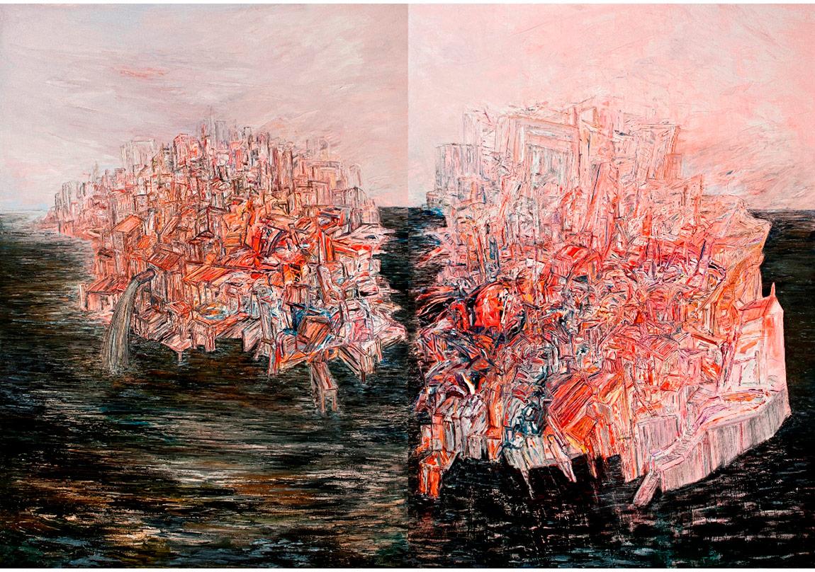 Stamboli: Şehre Doğru,Tuval üzerine yağlıboya,200 x 180 x 2 cm,Sanatçı Koleksiyonu
